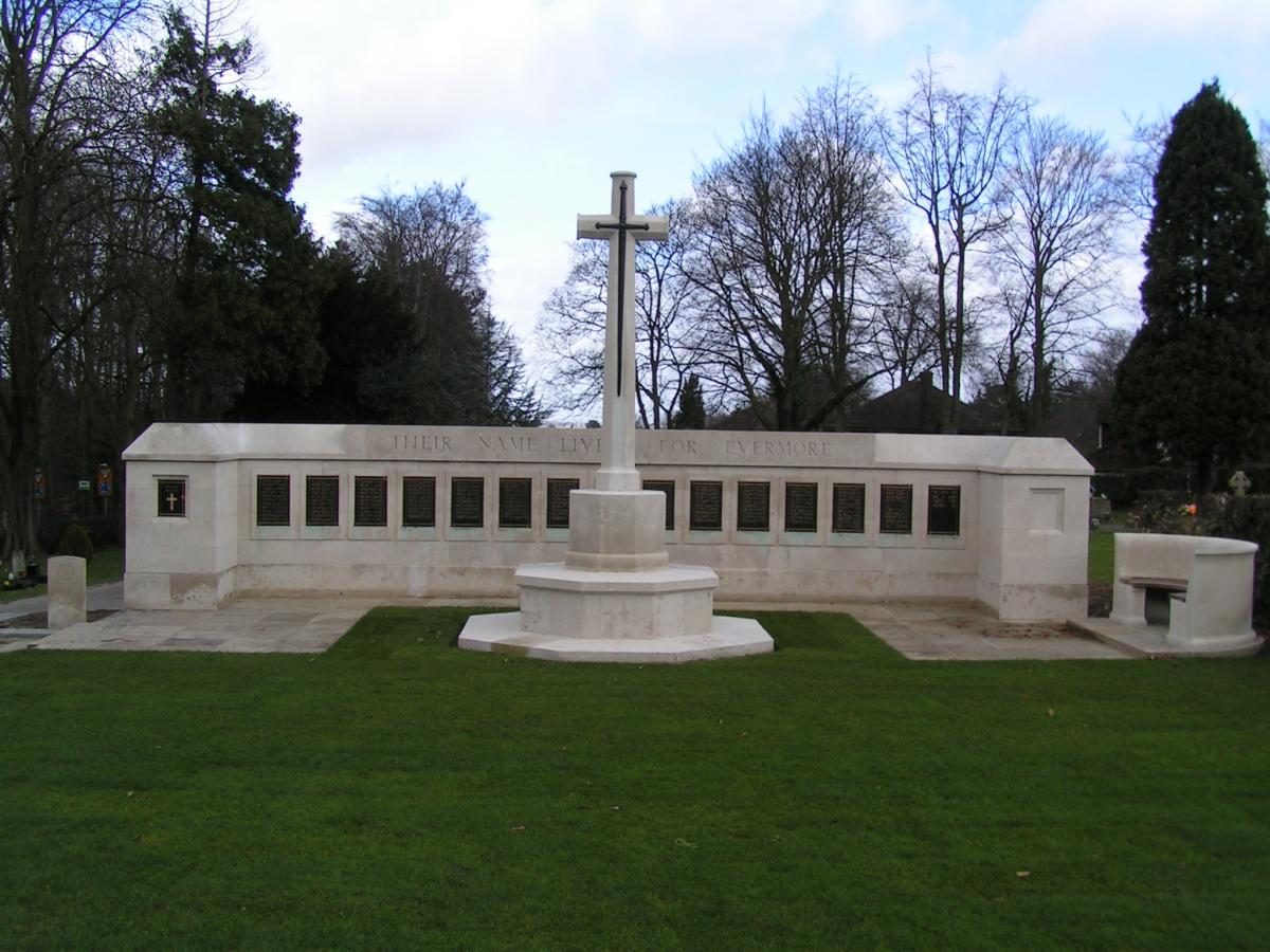 Photo of the Commonwealth War Graves memorial located in Epsom Cemetery