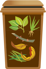 Picture of brown garden waste recycling bin